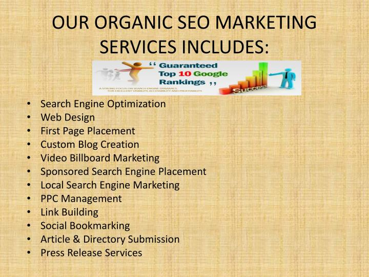 Our organic seo marketing services includes
