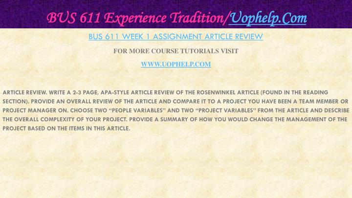 Bus 611 experience tradition uophelp com2