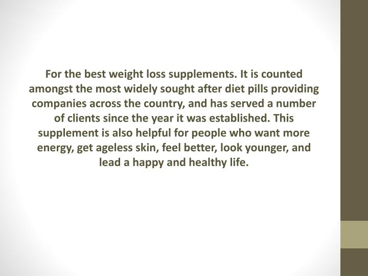For the best weight loss