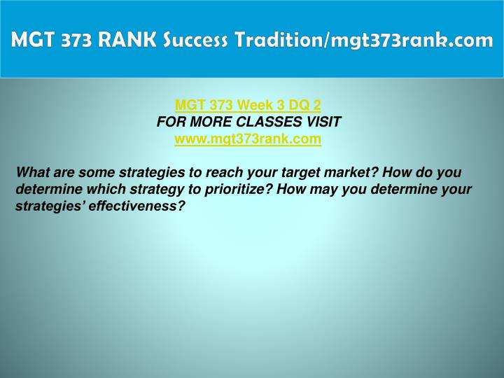 MGT 373 RANK Success Tradition/mgt373rank.com