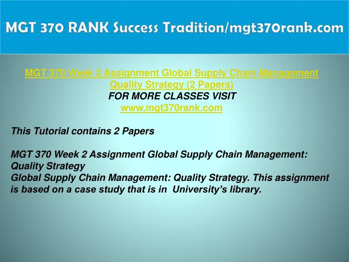 MGT 370 RANK Success Tradition/mgt370rank.com