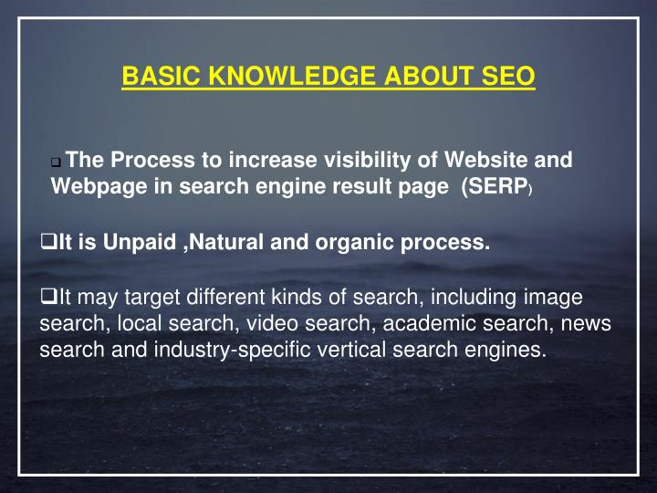 Basic knowledge about seo