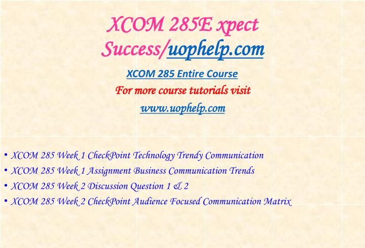 XCOM 285E xpect Success/