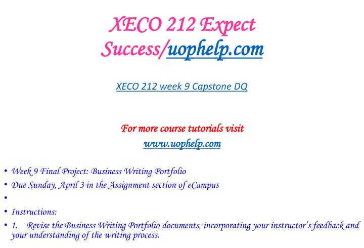 XECO 212 Expect Success/
