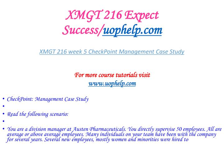 XMGT 216 Expect Success/