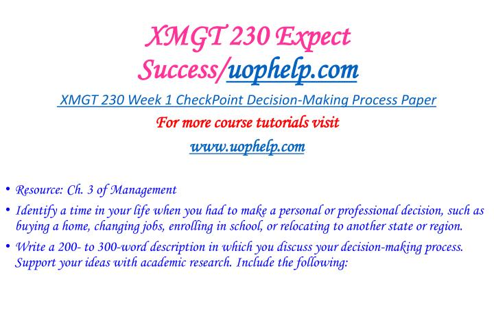 Xmgt 230 expect success uophelp com1
