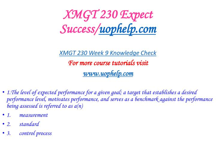 XMGT 230 Expect Success/