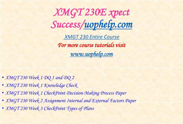 XMGT 230E xpect Success/