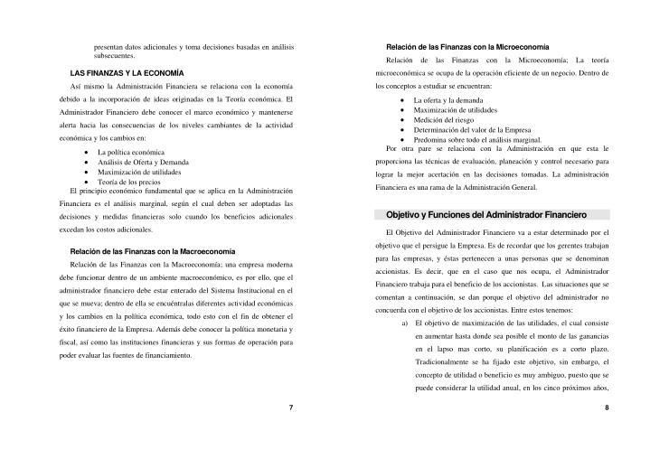 Relación de las Finanzas con la Microeconomía