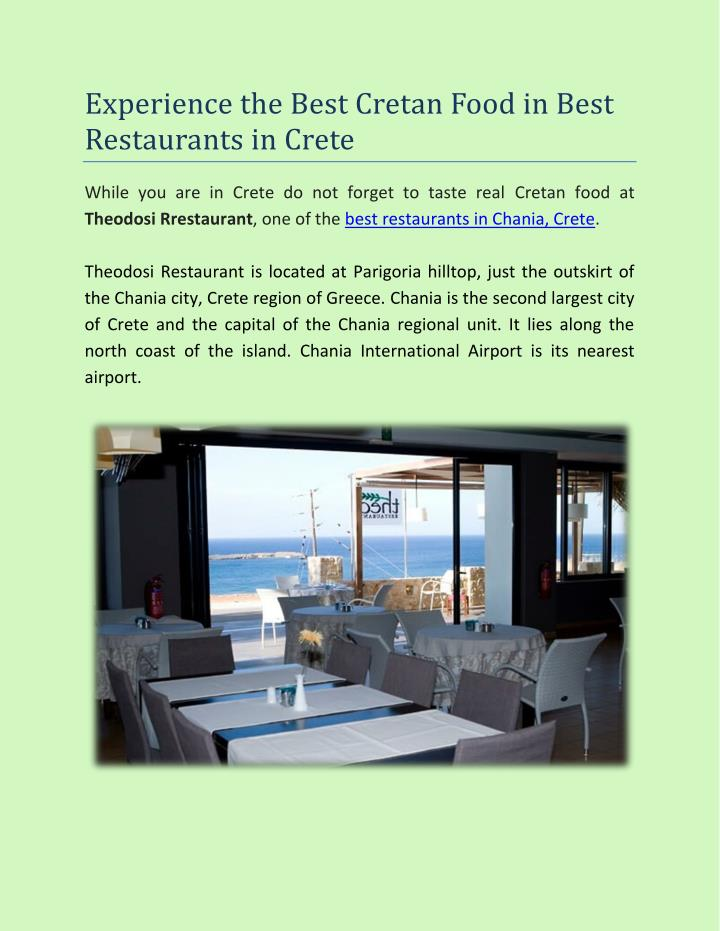 Experience the Best Cretan Food in Best
