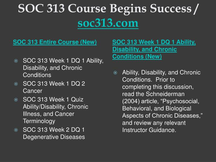 Soc 313 course begins success soc313 com1