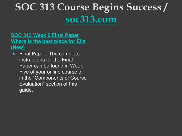 SOC 313 Course Begins Success /