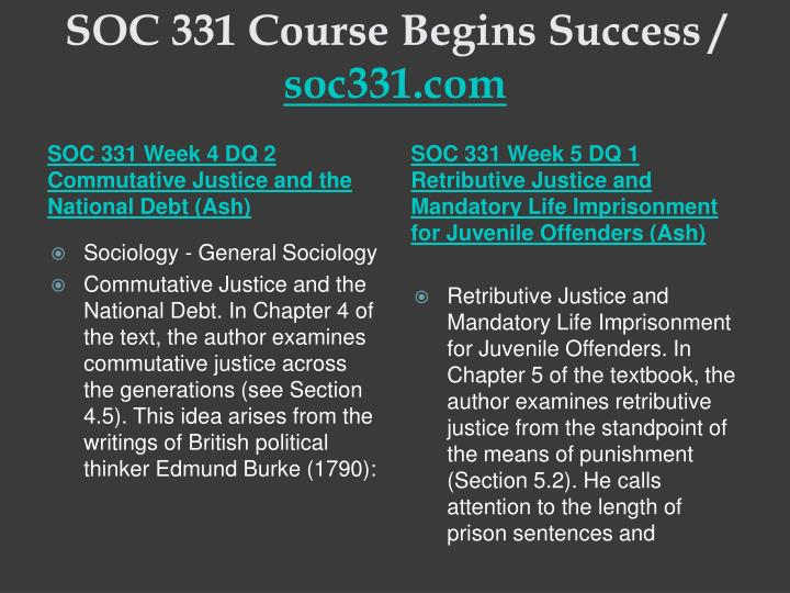 SOC 331 Course Begins Success /
