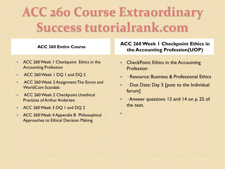 Acc 260 course extraordinary success tutorialrank com1