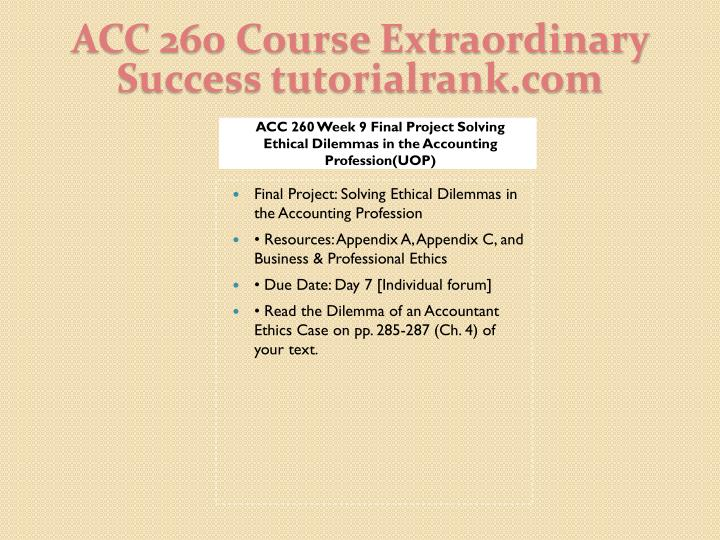 ACC 260 Course Extraordinary  Success tutorialrank.com