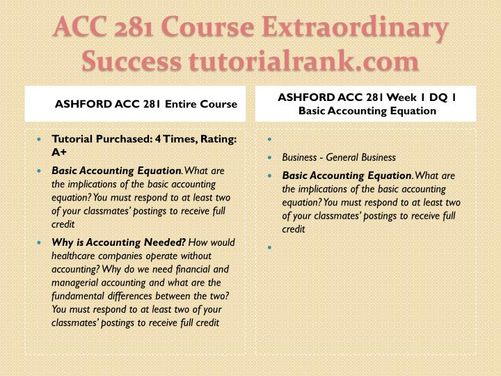 ASHFORD ACC 281 Entire Course