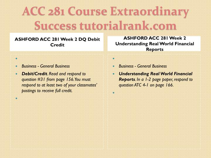 ASHFORD ACC 281 Week 2 DQ Debit Credit
