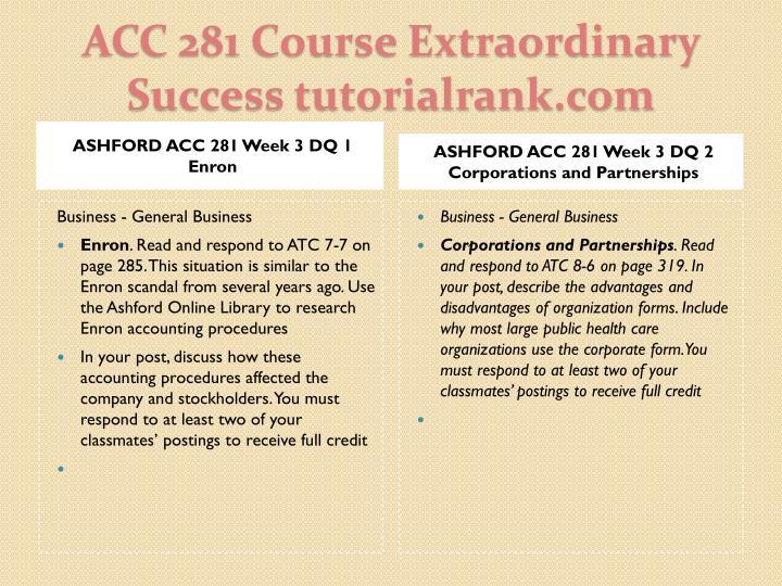 ASHFORD ACC 281 Week 3 DQ 1 Enron