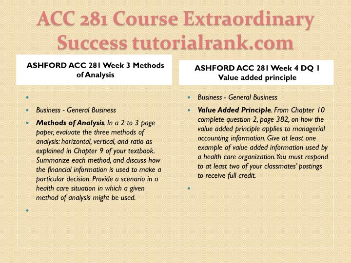 ASHFORD ACC 281 Week 3 Methods of Analysis