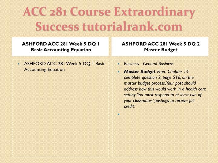 ASHFORD ACC 281 Week 5 DQ 1 Basic Accounting Equation