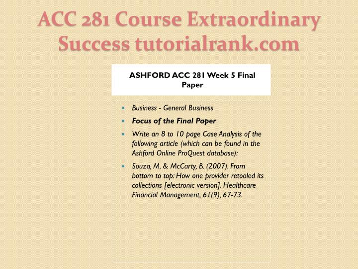 ASHFORD ACC 281 Week 5 Final Paper