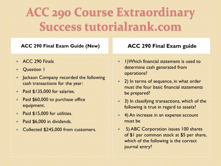 ACC 290 Final Exam Guide (New)