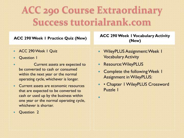 ACC 290 Week 1 Practice Quiz (New)