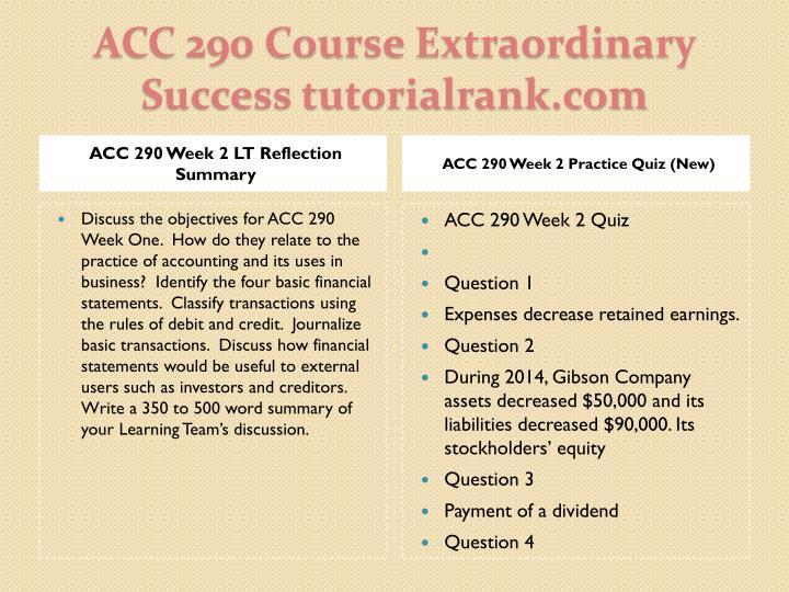 ACC 290 Week 2 LT Reflection Summary