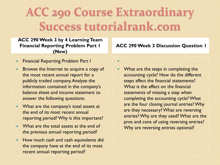 ACC 290 Week 3 by 4 Learning Team Financial Reporting Problem Part 1 (New)