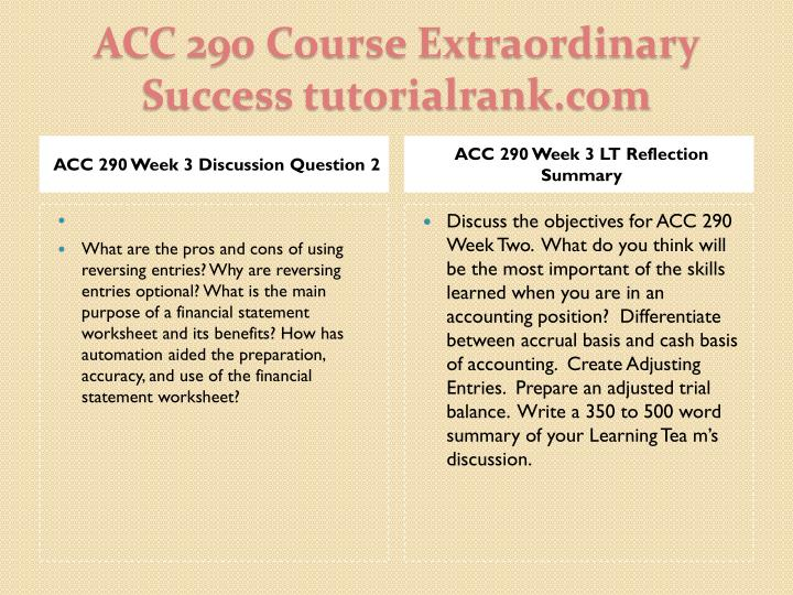 ACC 290 Week 3 Discussion Question 2