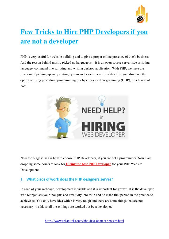Few Tricks to Hire PHP Developers if you