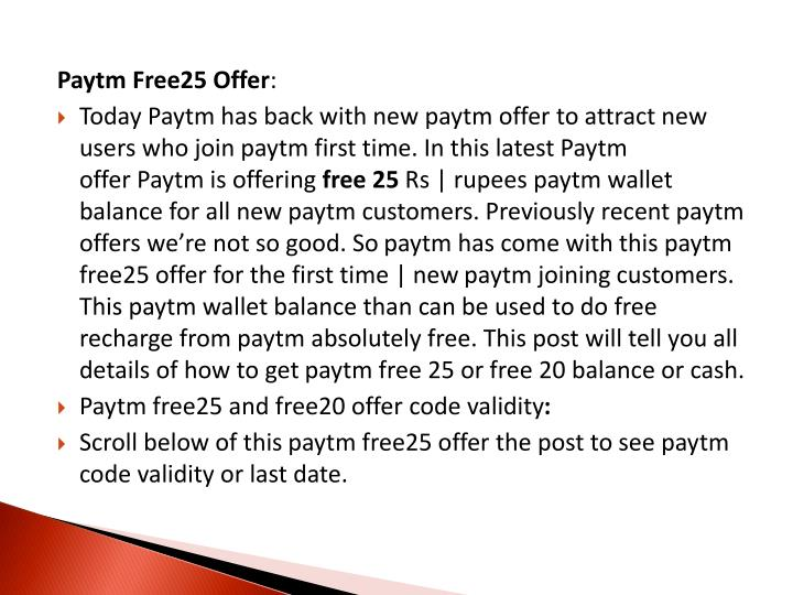 Paytm Free25 Offer