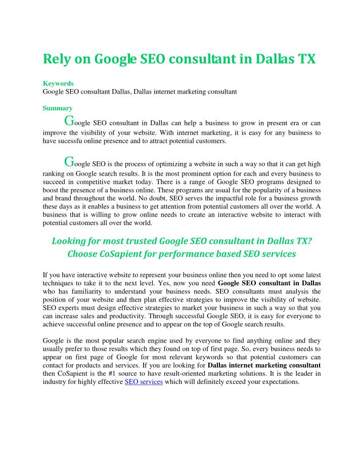 Rely on Google SEO consultant in Dallas TX