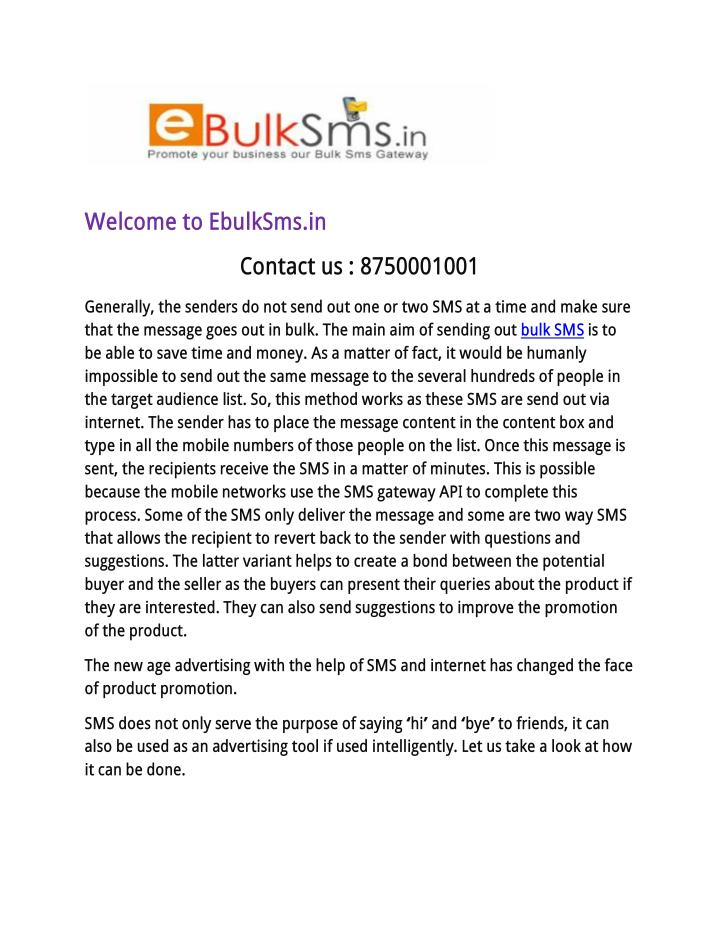 Welcome to EbulkSms.in
