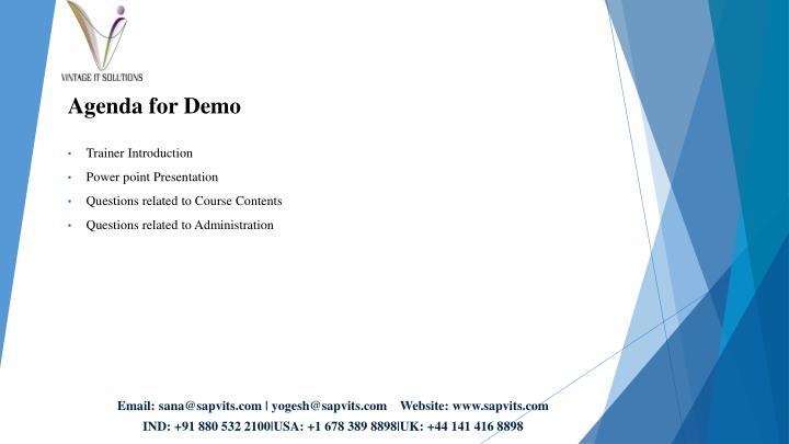 Agenda for Demo
