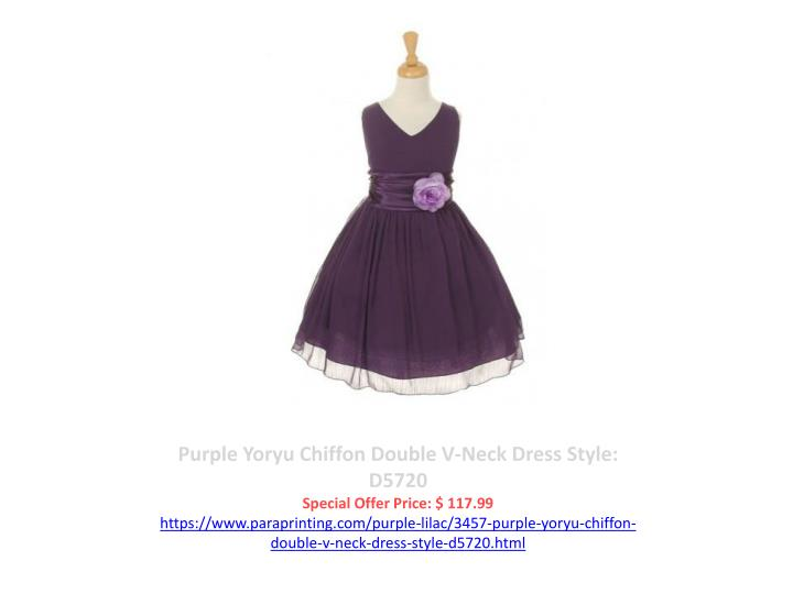 Purple Yoryu Chiffon Double V-Neck Dress Style: D5720