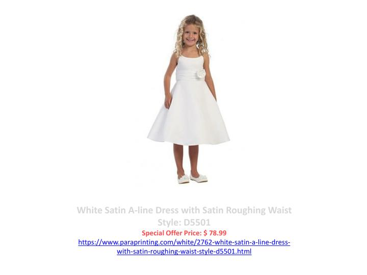 White Satin A-line Dress with Satin Roughing Waist Style: D5501