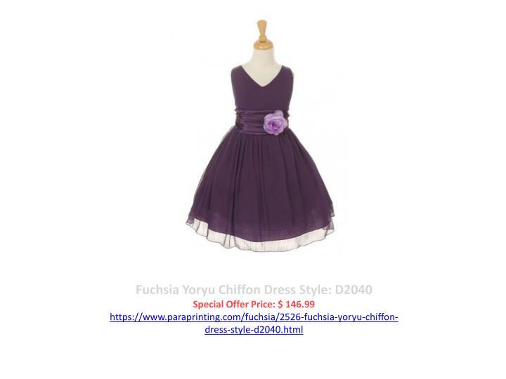 Fuchsia Yoryu Chiffon Dress Style: D2040
