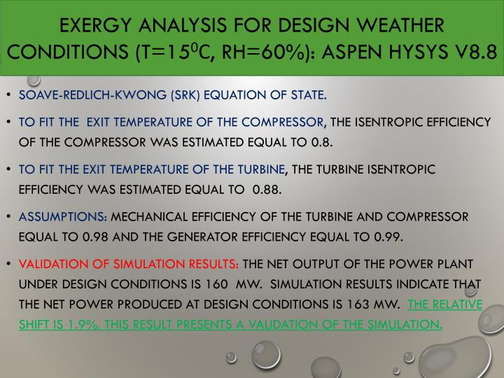 EXERGY ANALYSIS FOR DESIGN WEATHER