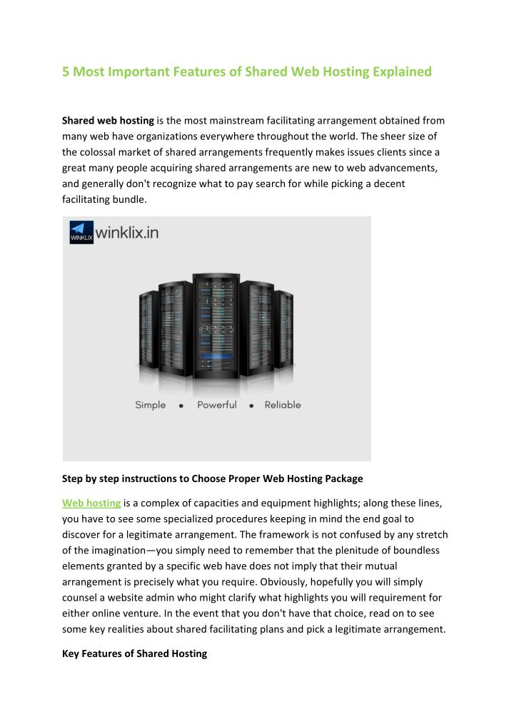 5 Most Important Features of Shared Web Hosting Explained