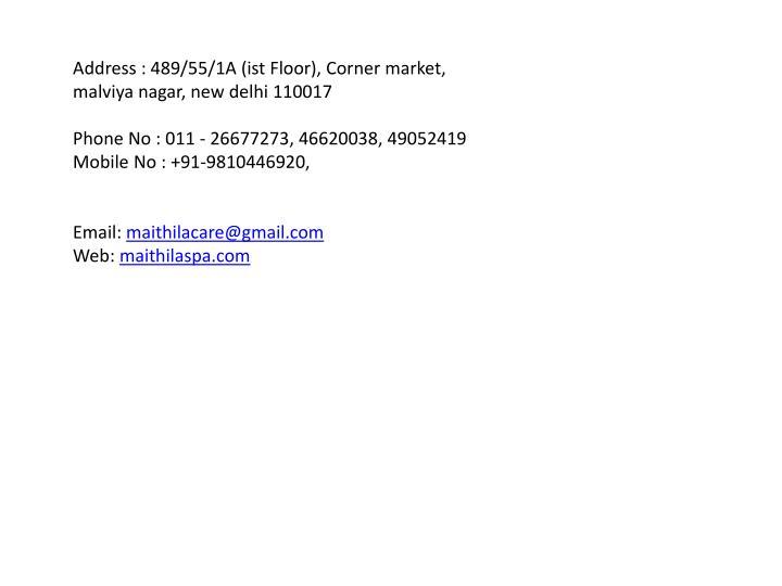 Address : 489/55/1A (