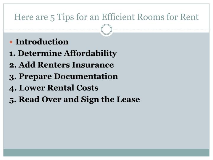 Here are 5 Tips for an Efficient Rooms for Rent