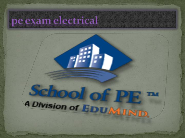 Pe exam electrical