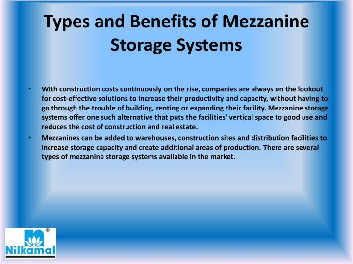 Types and benefits of mezzanine storage systems1