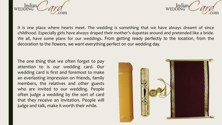 It is one place where hearts meet. The wedding is something that we have always dreamt of since chil...