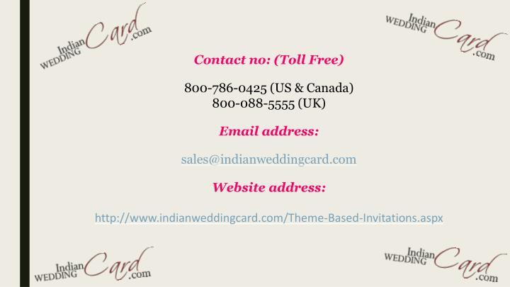Contact no: (Toll Free)