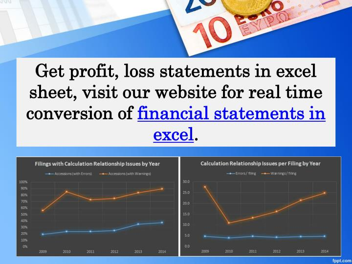 Get profit, loss statements in excel sheet, visit our website for real time conversion of