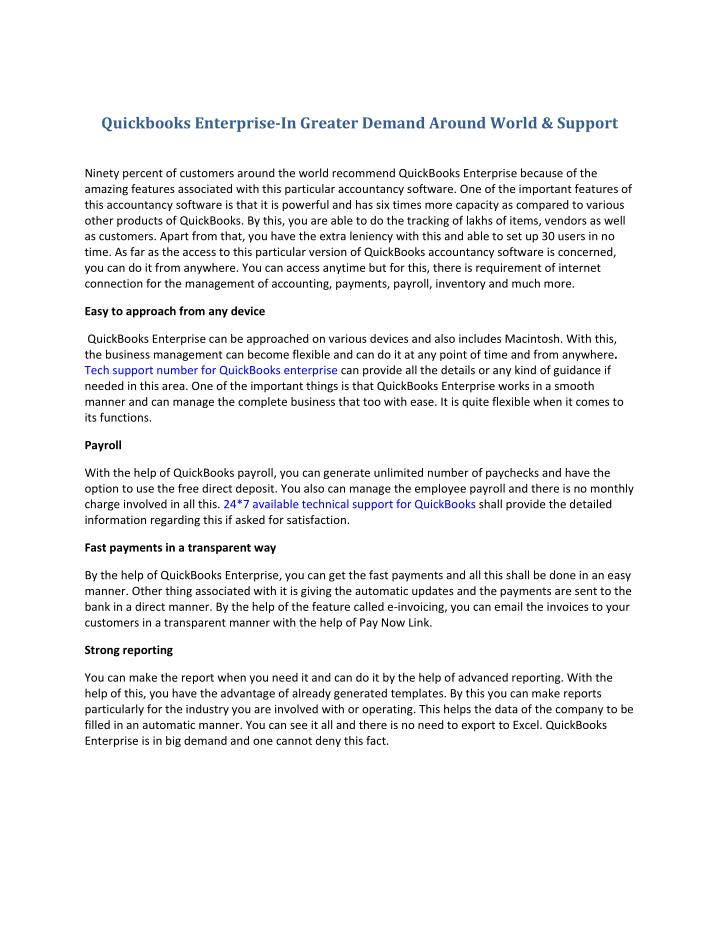 Quickbooks Enterprise-In Greater Demand Around World & Support