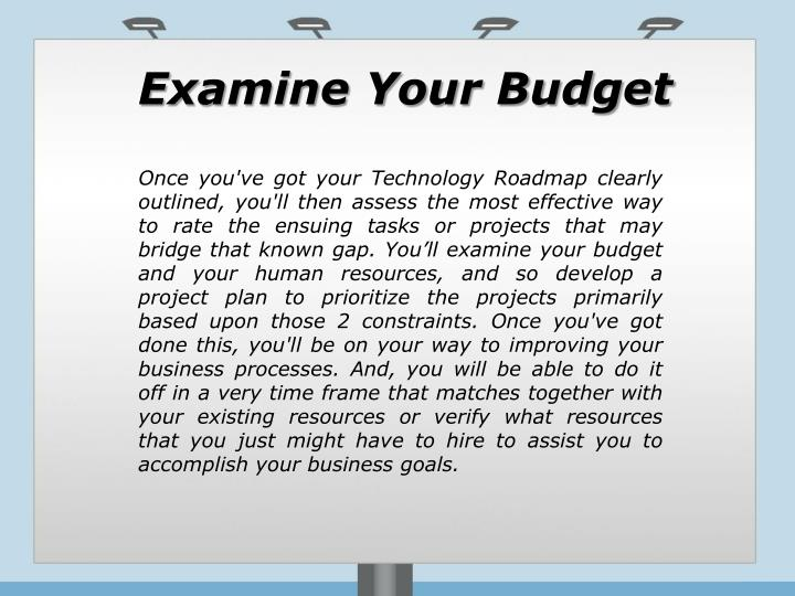 Examine Your Budget
