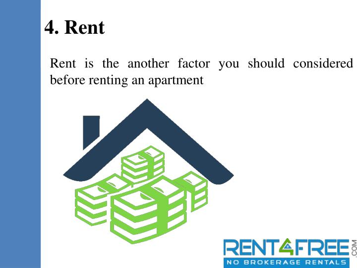 Rent is the another factor you should considered before renting an apartment